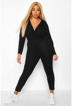 Womens Black Plus Super Soft Tie Waist Longsleeve Jumpsuit