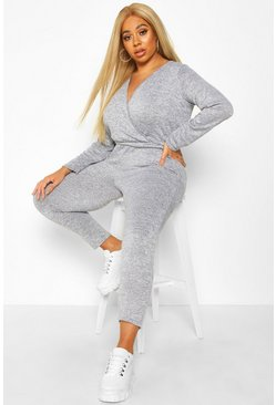 Womens Grey Plus Super Soft Tie Waist Longsleeve Jumpsuit