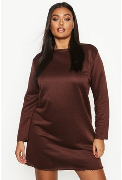 Womens Chocolate Plus Oversized Lightweight Raw Hem Sweat Dress