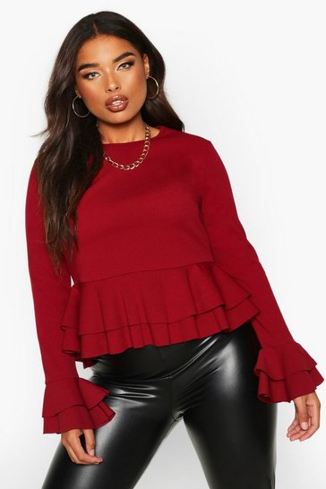Womens Berry Plus Frill Sleeve Double Peplum Top
