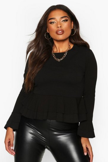 Black Plus Frill Sleeve Double Peplum Top