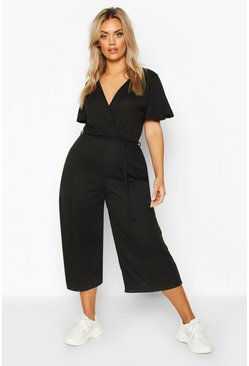 Womens Black Plus Rib Angel Sleeve Belted Culotte Jumpsuit