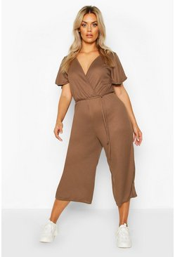 Womens Chocolate Plus Rib Angel Sleeve Belted Culotte Jumpsuit