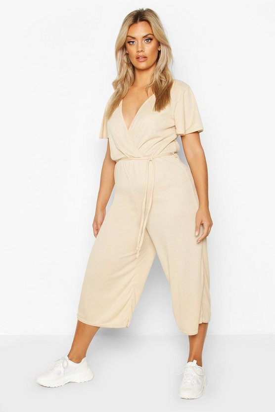 Stone Plus Rib Angel Sleeve Belted Culotte Jumpsuit