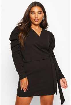 Black Plus Puff Sleeve Wrap Tie Waist Dress
