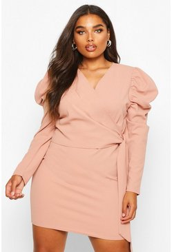 Womens Dusky pink Plus Puff Sleeve Wrap Tie Waist Dress