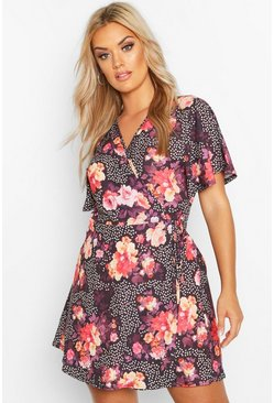 Black Plus Floral Spot Wrap Dress With Angel Sleeve
