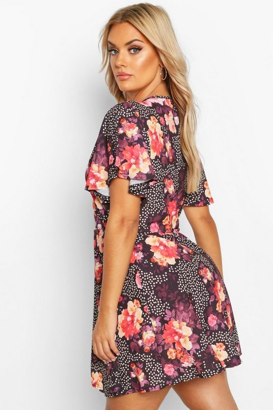 Plus Floral Spot Wrap Dress With Angel Sleeve