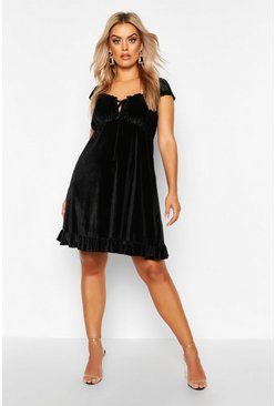 Black Plus Velvet Ruffle Tie Detail Swing Dress