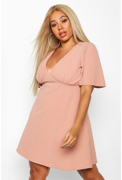 Womens Dusky pink Plus Angel Sleeve Ruched Detail Swing Dress