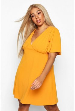 Womens Mustard Plus Angel Sleeve Ruched Detail Swing Dress