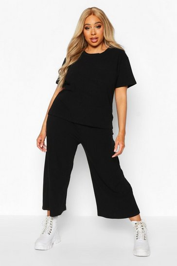 Womens Plus Soft Rib T-shirt + Culotte Co-ord
