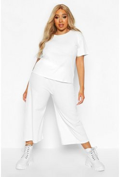 Ecru Plus Soft Rib T-shirt + Culotte Co-ord