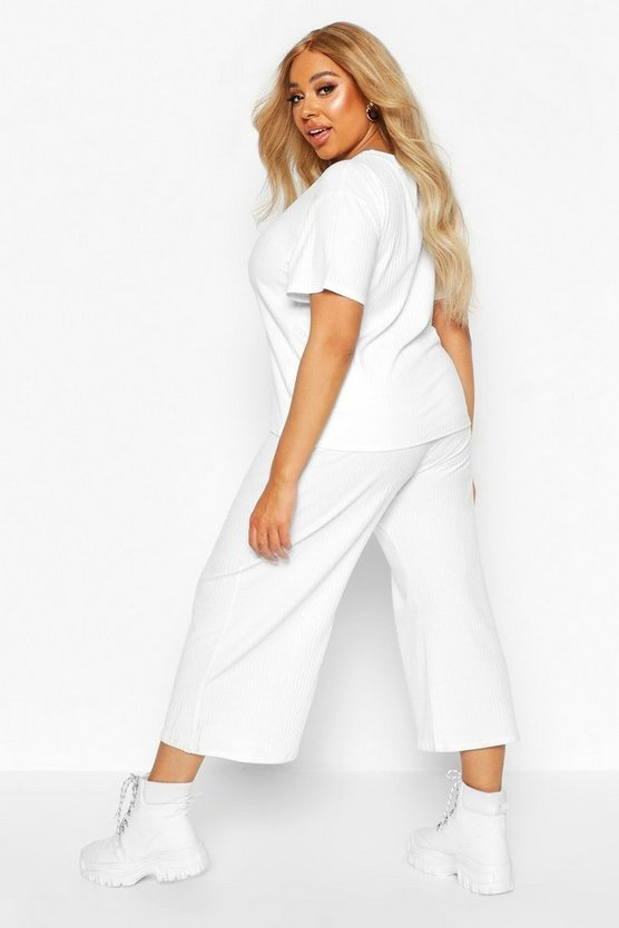 Plus Soft Rib T-shirt + Culotte Co-ord