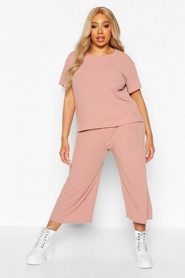 Womens Rose Plus Soft Rib T-shirt + Culotte Co-ord