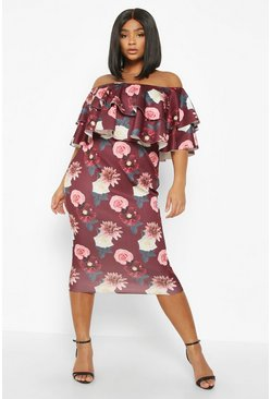 Berry Plus Off The Shoulder Floral Ruffle Midi Dress