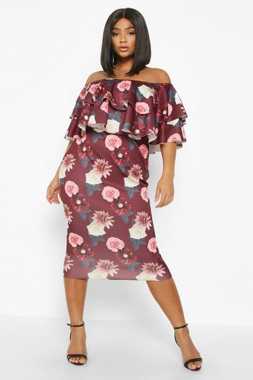 Berry Plus Bardot Floral Ruffle Midi Dress