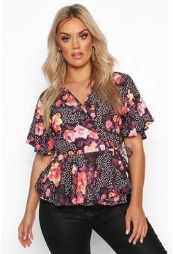 Womens Black Plus Polka Dot Floral Wrap Peplum Top