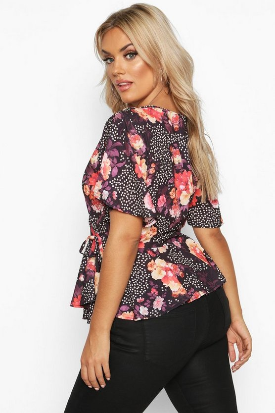 Plus Polka Dot Floral Wrap Peplum Top