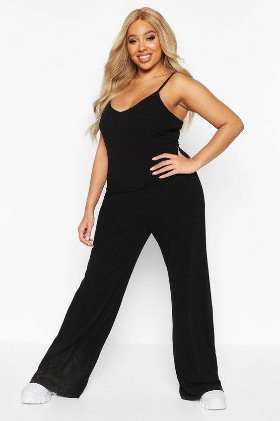 Plus Soft Rib Cami + Wide Leg Trouser Co-Ord