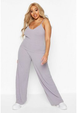 Grey Plus Soft Rib Cami + Wide Leg Trouser Co-Ord