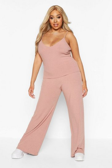 Womens Rose Plus Soft Rib Cami + Wide Leg Trouser Co-Ord