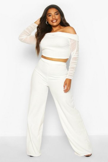 Womens White Plus Mesh Bardot Top + Wide Leg Trouser Co-Ord