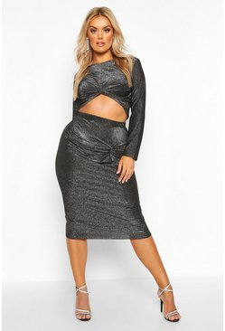Black Plus Metalic Knot Front Top + Midi Skirt Co-Ord