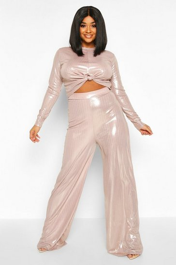 Womens Stone Plus Metallic Knot Front Top + Wide Leg Trousers