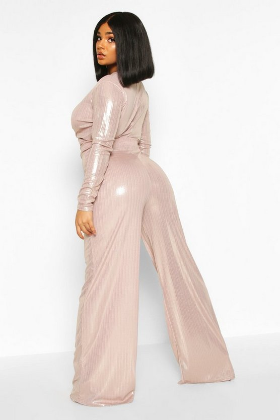 Plus Metallic Knot Front Top + Wide Leg Trousers