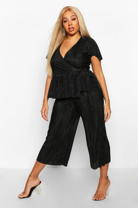 Black Plus Plisse Wrap Peplum Top + Culotte Co-Ord