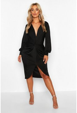 Womens Black Plus Twist Front Plunge Midi Dress