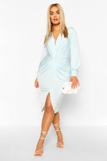 Sky Plus Twist Front Plunge Midi Dress