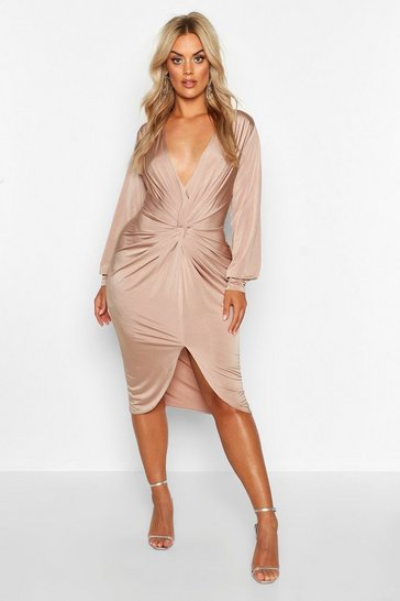 Womens Stone Plus Twist Front Plunge Midi Dress