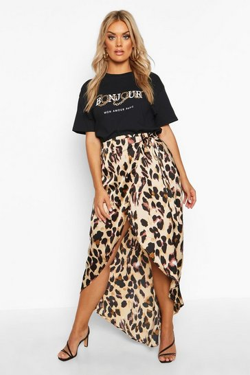 Womens Brown Plus Leopard Print Wrap Tie Waist Maxi Skirt