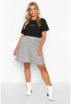 Dam Black Plus Dogtooth Check Skater Skirt