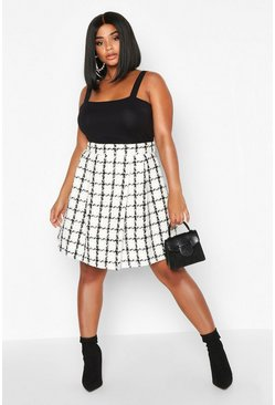 Cream Plus Double Check Pleated Mini Skirt