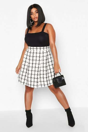 Womens Cream Plus Double Check Pleated Mini Skirt