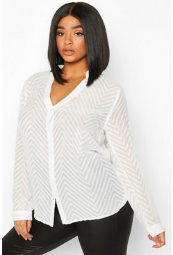 Womens White Plus Striped Sheer Button Through Blouse
