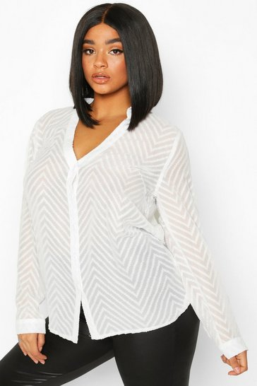 White Plus Striped Sheer Button Through Blouse
