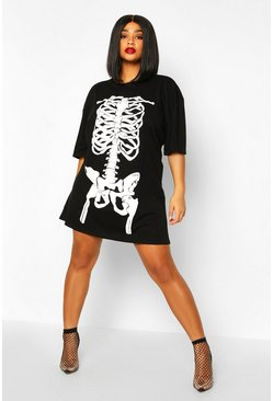 Womens Black Plus Halloween Skeleton Print T-Shirt Dress