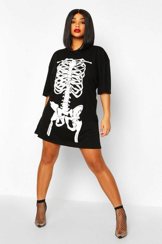 Plus Haloween Skeleton Print T-Shirt Dress