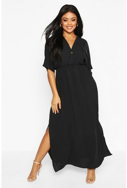 Womens Black Plus Horn Button Listing Midi Dress