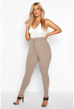 Leggings Plus in crêpe con cerniera frontale, Cioccolato