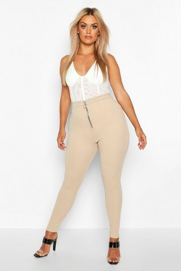 Womens Stone Plus Zip Front Crepe Leggings