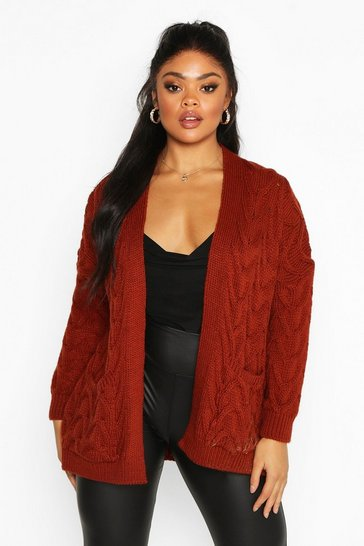 Chocolate Plus Cable Knit Longline Cardigan