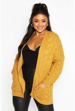 Womens Mustard Plus Cable Knit Longline Cardigan