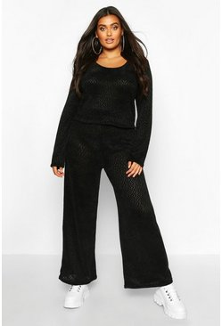 Womens Black Plus Chenille Slouchy Lounge Set