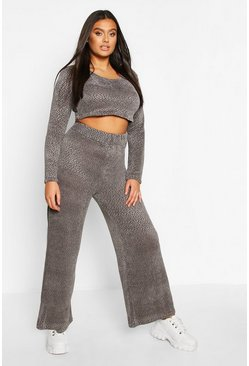 Womens Grey Plus Chenille Slouchy Lounge Set