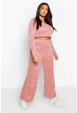 Womens Rose Plus Chenille Slouchy Lounge Set